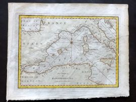 Cary 1801 Hand Col Map. A New Chart of the Mediterranean Sea